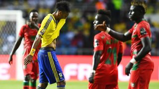 Gabon's forward Pierre-Emerick Aubameyang reacts as he walks off the pitch during the 2017 Africa Cup of Nations group A football match between Gabon and Guinea-Bissau at the Stade de l'Amitie Sino-Gabonaise in Libreville on January 14, 2017. / AFP PHOTO / GABRIEL BOUYS