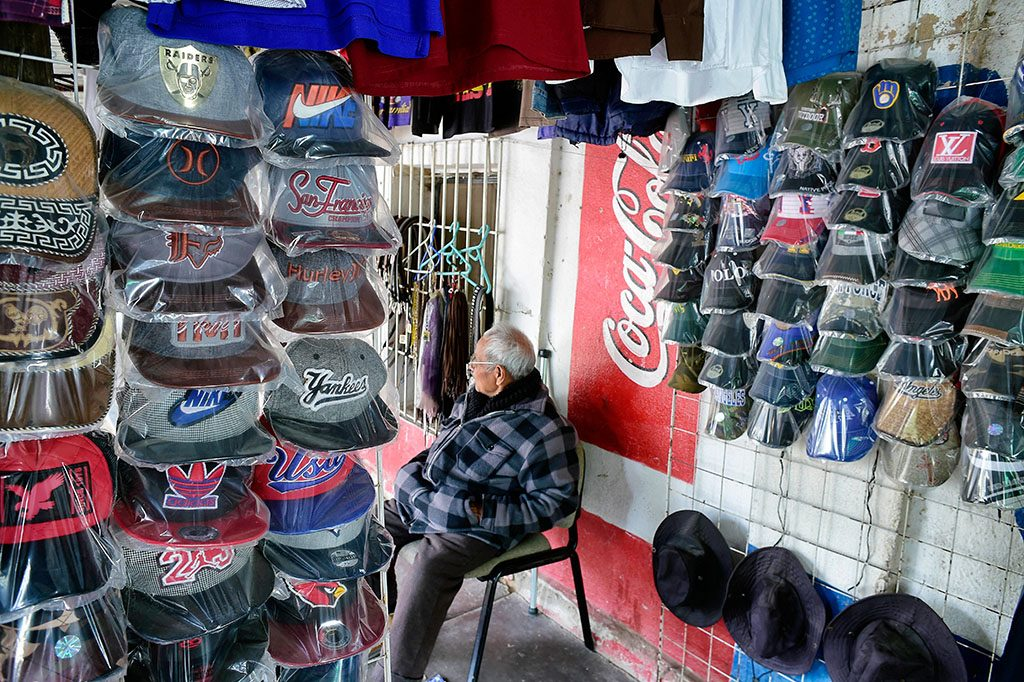 Picture of caps sold to migrants at a store in the town of Altar in Sonora state, Mexico on January 12, 2017. 