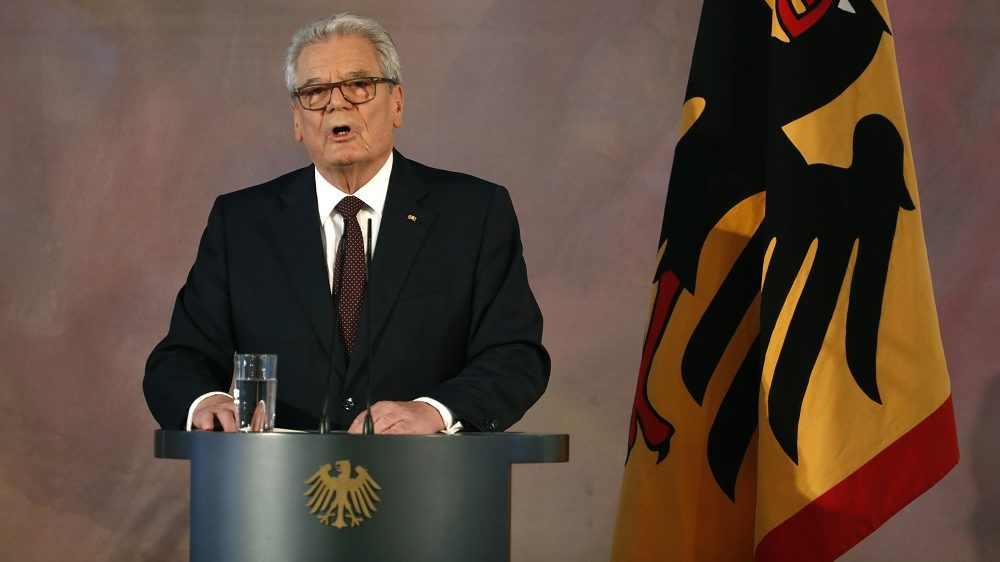 German President Joachim Gauck gives a speech on January 18, 2017 at the presidential Bellevue Palace in Berlin, the last speech of his term in office. / AFP PHOTO / Odd ANDERSEN