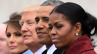 L-R: First Lady Melania Trump, President Donald Trump,former President Barack Obama, Michelle Obama at the US Capitol after inauguration ceremonies at the in Washington, DC, on January 20, 2017. / AFP PHOTO / JIM WATSON