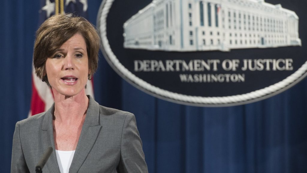 (FILES) This file photo taken on June 28, 2016 shows Deputy Attorney General Sally Yates speaks during a press conference at the Department of Justice in Washington. On January 30, 2017 US President Donald Trump fired the acting attorney general Sally Yates, a holdover from the Obama administration, after she ordered Justice Department attorneys not to defend his controversial immigration orders. / AFP PHOTO / SAUL LOEB
