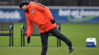 Coach Pal Dardai checking the markers during the opening training session of German Bundesliga soccer club Hertha BSC in Berlin, Germany, 03 January 2017. Photo: Soeren Stache/dpa
