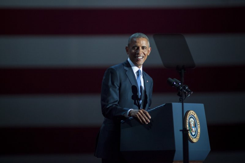 CHICAGO, IL - JANUARY 10: U.S. President Barack Obama speaks to supporters during his farewell speech at McCormick Place on January 10, 2017 in Chicago, Illinois. Obama addressed the nation in what is expected to be his last trip outside Washington as president. President-elect Donald Trump will be sworn in as the 45th president on January 20.   Darren Hauck/Getty Images/AFP