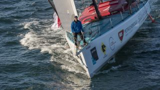 Sailing aerial images of the IMOCA boat Spirit of Hungary, skipper Nandor Fa (HUN), during training solo for the Vendee Globe, off Les Sables d'Olonne, on October 27, 2016 - Photo Olivier Blanchet / DPPI