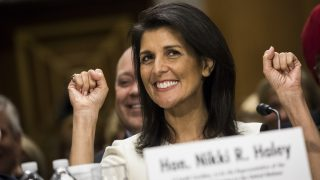 WASHINGTON, USA - January 18: South Carolina Governor Nikki Haley testifies before the Senate Foreign Relations Committee during her confirmation hearing where they are considering President-elect Trumps nomination of Gov. Haley as the U.S. Representative to the United Nations in Washington, USA on January 18, 2017. Samuel Corum / Anadolu Agency