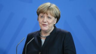 BERLIN, GERMANY - JANUARY 16:  German Chancellor Angela Merkel speaks during a joint press conference with Prime Minister of New Zealand Bill English (not seen) after their meeting in Berlin, Germany on January 16, 2017. Cuneyt Karadag / Anadolu Agency