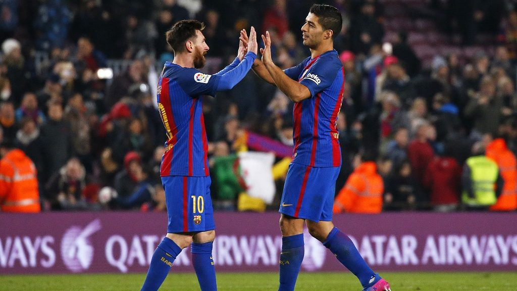 Leo Messi and Luis Suarez during the 1/4 final King Cup match between F.C. Barcelona v Real Sociedad, in Barcelona, on January 26, 2017.(Photo by Urbanandsport/NurPhoto)