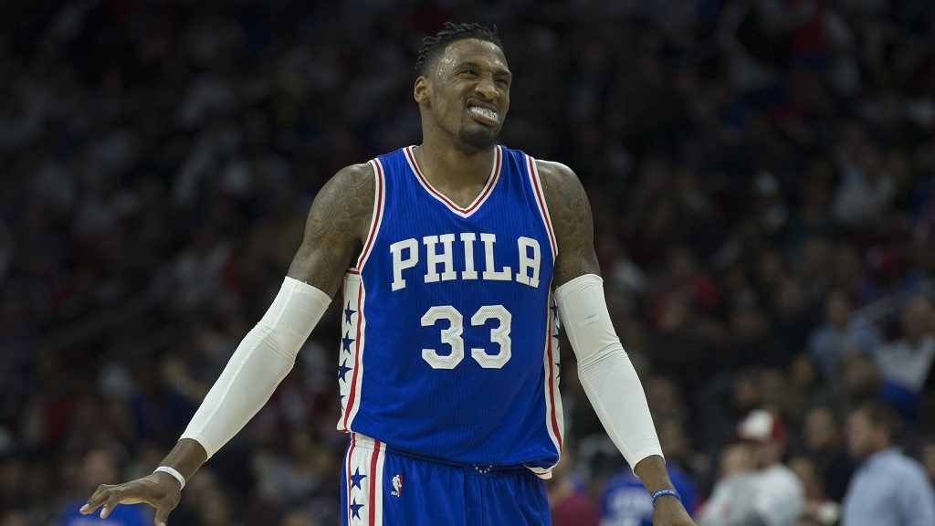 PHILADELPHIA, PA - OCTOBER 26: Robert Covington #33 of the Philadelphia 76ers reacts in the fourth quarter against the Oklahoma City Thunder at Wells Fargo Center on October 26, 2016 in Philadelphia, Pennsylvania. NOTE TO USER: User expressly acknowledges and agrees that, by downloading and or using this photograph, User is consenting to the terms and conditions of the Getty Images License Agreement. The Thunder defeated the 76ers 103-97.   Mitchell Leff/Getty Images/AFP