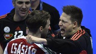 Hungary's goalkeeper Roland Mikler (R) celebrates with Hungary's centre back Gabor Csaszar after Hungary defeated Denmark in the 25th IHF Men's World Championship 2017 eighth final on January 22, 2017 at the Halle Olympique in Albertville. / AFP PHOTO / PHILIPPE DESMAZES
