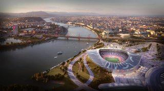 Budapest, 2017. január 4. A Budapest 2024 által 2017. január 4-én közölt legfrissebb aktuális látványterv az Olimpiai Park helyszíncsoportban található Olimpiai Atlétikai Stadionról, amely a IX., X. és XXI. kerületekben, a Kvassay-zsilip térségében van, és az esetleges 2024-es budapesti olimpia egyik helyszíne lesz. A látványtervet a Brick Visual, az építési terveket a BORD Építész Stúdió készítette. A 2024-es olimpia rendezési jogáért a magyar főváros Los Angelesszel és Párizzsal verseng, a Nemzetközi Olimpiai Bizottság (NOB) szeptember 13-án, Limában dönt a helyszínről.MTI Fotó