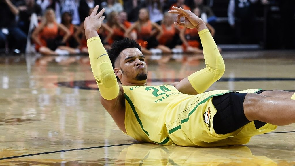 EUGENE, OR - JANUARY 14: Dillon Brooks #24 of the Oregon Ducks celebrates after scoring in the first half of the game against the Oregon State Beavers at Matthew Knight Arena on January 14, 2017 in Eugene, Oregon.   Steve Dykes/Getty Images/AFP