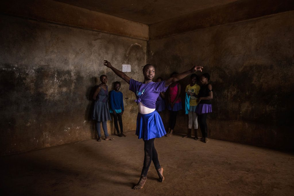 """""""When I was young I saw ballet on TV, I liked the dance and the pointing shoes, and I wanted to be a ballerina since then"""" says Pamela 13, one of the older students in the class"""