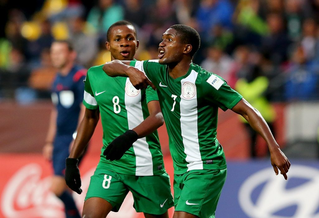 VINA DEL MAR, CHILE - NOVEMBER 08:  Funsho Bamgboye #7 of Nigeria celebrate with team mate Samuel Chukwuze after he scores the 2nd goal during the FIFA U-17 Men's World Cup 2015 final match between Mali and Nigeria at Estadio Sausalito on November 8, 2015 in Vina del Mar, Chile.  (Photo by Martin Rose - FIFA/FIFA via Getty Images)