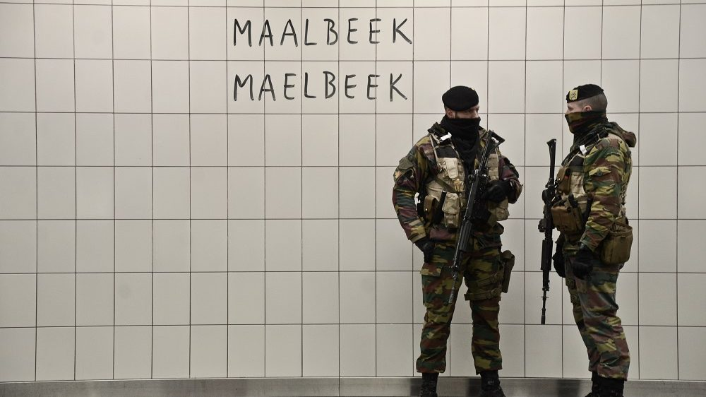 Maelbeek metro station in Brussels, Belgium, on April 25, 2016, opened the doors again after the terrorist attacks which took away the life of 31 people and much more were injured. The metro station and the city are under control with a lot of safety measures by police and the military. (Photo by Hristo Rusev/NurPhoto via Getty Images)