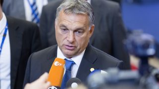 Brussels, Belgium, September 24, 2015. -- Hungarian Prime Minister Viktor Mihály Orbán is talking to media at the end of an EU chief of state summit on Eu chief of state summit on migration and refugees crisis. (Photo by Thierry Tronnel/Corbis via Getty Images)