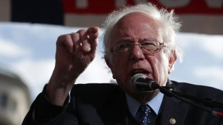 WASHINGTON, DC - DECEMBER 07:  U.S. Sen. Bernie Sanders (I-VT) speaks during a rally on jobs December 7, 2016 at Freedom Plaza in Washington, DC. Our Revolution and Good Jobs Nation, the organizer, held a rally to demand good jobs and workers' rights from the incoming President-elect Donald Trump administration.  (Photo by Alex Wong/Getty Images)