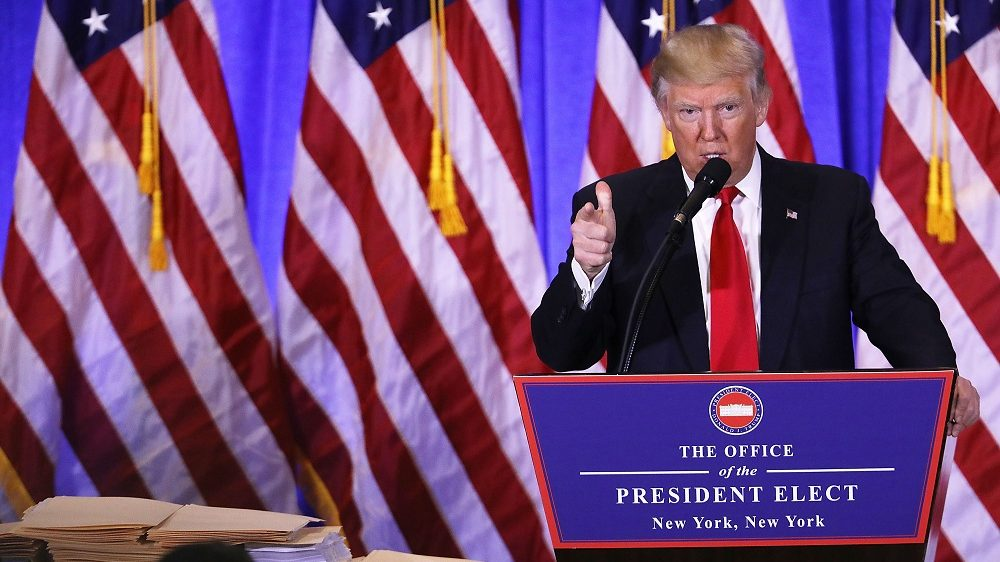 NEW YORK, NY - JANUARY 11:  President-elect Donald Trump speaks at a news cenference at Trump Tower  on January 11, 2017 in New York City. This is TrumpÕs first official news conference since the November elections.  (Photo by Spencer Platt/Getty Images)