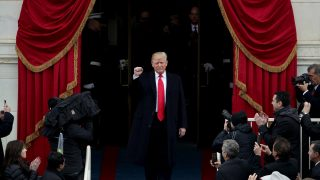WASHINGTON, DC - JANUARY 20:  President Elect Donald Trump arrives on the West Front of the U.S. Capitol on January 20, 2017 in Washington, DC. In today's inauguration ceremony Donald J. Trump becomes the 45th president of the United States.  (Photo by Alex Wong/Getty Images)