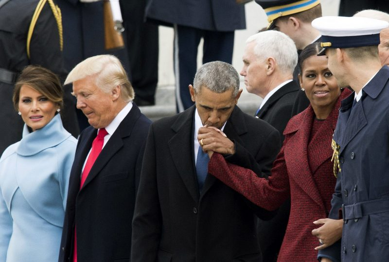WASHINGTON, DC - JANUARY 20:   Former President Barack Obama and former First Lady Michelle Obama hug Vice President Joe Biden and his wife Jill Biden following the inauguration of President Donald Trump, on Capitol Hill in Washington, D.C. on January 20, 2017. President-Elect Donald Trump was sworn-in as the 45th President.  (Photo by Kevin Dietsch - Pool/Getty Images)