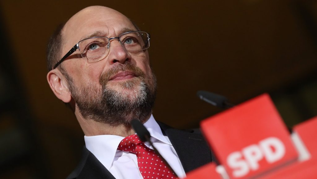 BERLIN, GERMANY - JANUARY 24:  Martin Schulz, leading German Social Democrats (SPD) member and until recently president of the European Parliament, speaks to the media with Vice Chancellor and Economy and Energy Minister and also SPD chairman Sigmar Gabriel to announce that Schulz rather than Gabriel will run for chancellor against current chancellor and Christian Democrat Angela Merkel on January 24, 2017 in Berlin, Germany. Germany will hold federal elections in September. Gabriel said he will also step down from his position as SPD chairman.  (Photo by Sean Gallup/Getty Images)