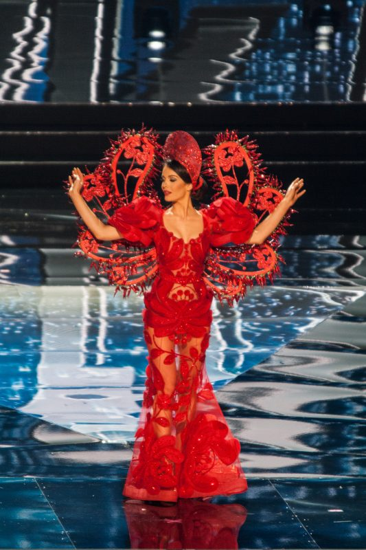 MOA ARENA, PASAY, METRO MANILA, PHILIPPINES - 2017/01/26: Miss Hungary shows off her national costume at the Arena in Pasay City. Candidates from different countries showed off their national costumes during the Miss Universe pageant preliminary competition at the SM Mall of Asia Arena in Pasay City. (Photo by Joseph Gerard Seguia/Pacific Press/LightRocket via Getty Images)