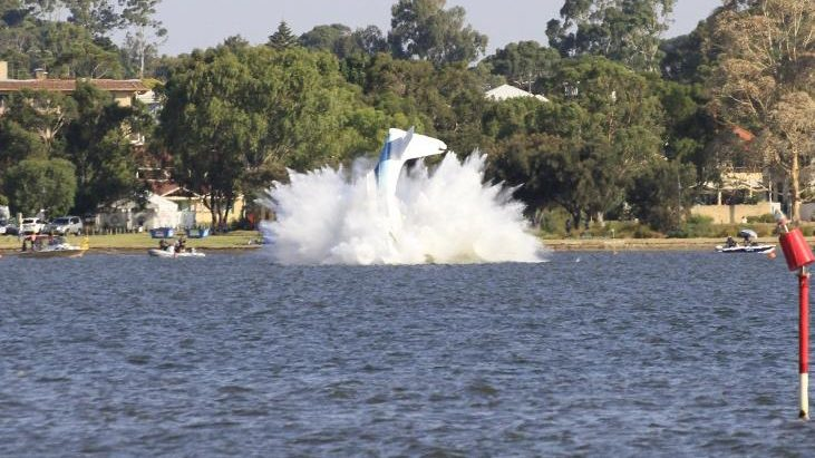 Seaplane just crashed into the swan river. Hope the pilot is okay. #Perth #australiaday2017 5 of 5Picture by Vicky Clarke