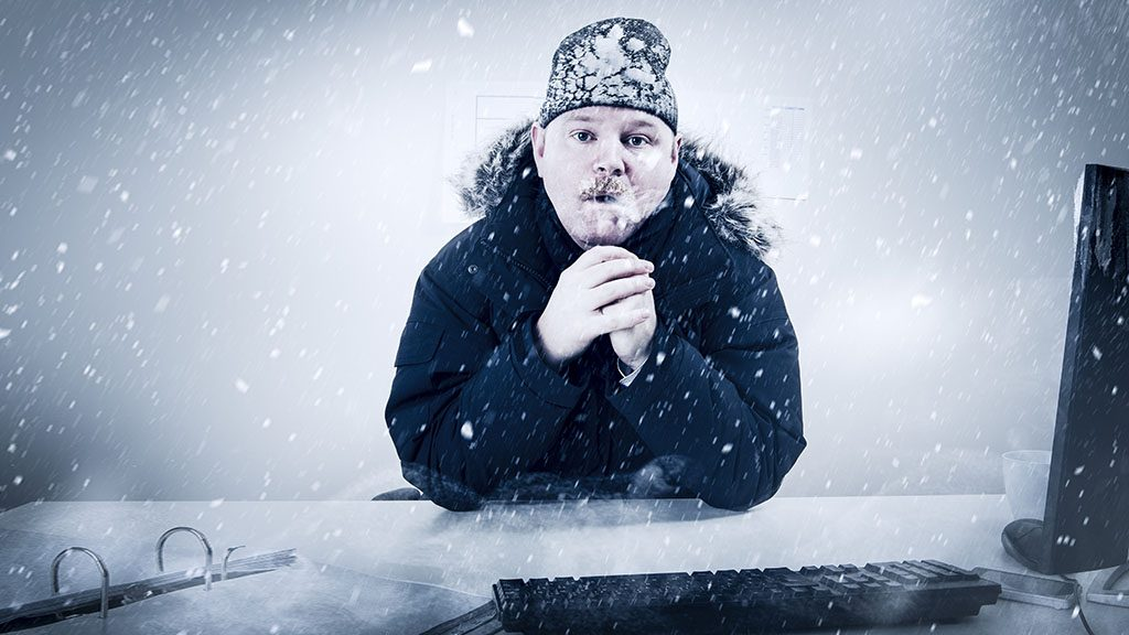Office worker with mustache in cold snow. Frosty