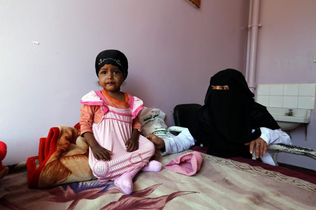 SANAA, YEMEN - JANUARY 18: A baby gets treatment at the Sabaeen hospital in Sanaa, Yemen on January 18, 2017. Thousands of families in Yemen face food safety and malnutrition problems because of the ongoing clashes in the country. 