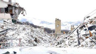 Amatrice, 2017. január 5. Házi macska hó lepte épületromoknál a közép-olaszországi Amatricében 2017. január 5-én. A településen okozta a legnagyobb pusztítást a 2016. augusztus 24-i, a Richter-skála szerinti 6,2-es erõsségû földrengés, amelyben mintegy 300 ember életét vesztette. (MTI/AP/ANSA/Emiliano Grillotti)