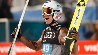 BISCHOFSHOFEN, AUSTRIA - JANUARY 06:  Kamil Stoch of Poland celebrates victory after the final round on Day 2 of the 65th Four Hills Tournament ski jumping event at Paul-Ausserleitner-Schanze on January 6, 2017 in Bischofshofen, Austria.  (Photo by Adam Pretty/Bongarts/Getty Images)