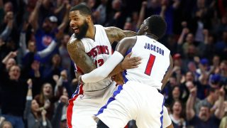 AUBURN HILLS, MI - JANUARY 21: Marcus Morris #13 of the Detroit Pistons celebrates his buzzer beating game winning shot with Reggie Jackson #1 to beat the Washington Wizards 113-112 at the Palace of Auburn Hills on January 21, 2017 in Auburn Hills, Michigan. NOTE TO USER: User expressly acknowledges and agrees that, by downloading and or using this photograph, User is consenting to the terms and conditions of the Getty Images License Agreement.   Gregory Shamus/Getty Images/AFP