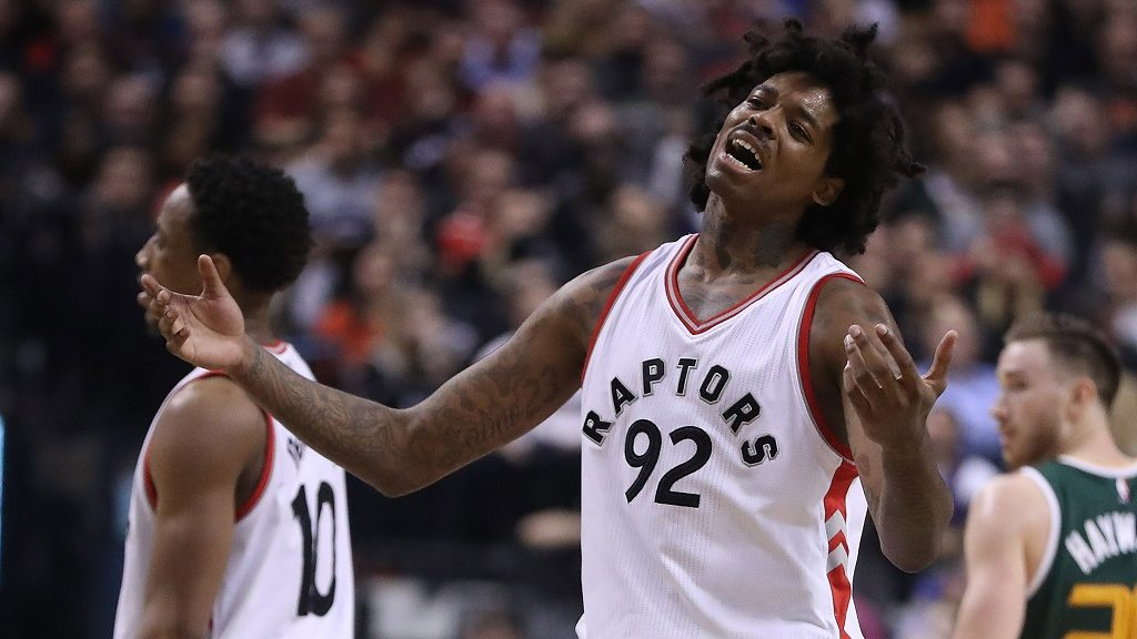 TORONTO, ON- JANUARY 5  -  Toronto Raptors center Lucas Nogueira (92) reacts after being called for a foul as the Toronto Raptors beat the Utah Jazz 101-93  at  Air Canada Centre in Toronto. January 5, 2017.        (Steve Russell/Toronto Star via Getty Images)
