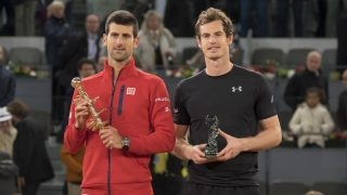Serbia's Novak Djokovic (L) and Britain's Andy Murray pose with their trophies after the Madrid Open men's tennis final at the Caja Magica (Magic Box) sports complex in Madrid on May 8, 2016.  (Photo by Oscar Gonzalez/NurPhoto via Getty Images)