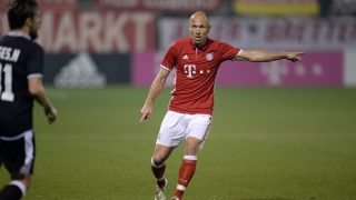 Bayern Munich's Arjen Robben in action during the friendly soccer match between FC Bayern Munich and KASEupen in Doha, Qatar, 10 January 2017. The German soccer club is currently training in the Middle East in preparation of the resumption of the Bundesliga season after the mid-winter break. The team returns to German on the 11.01.17. Photo: Andreas Gebert/dpa