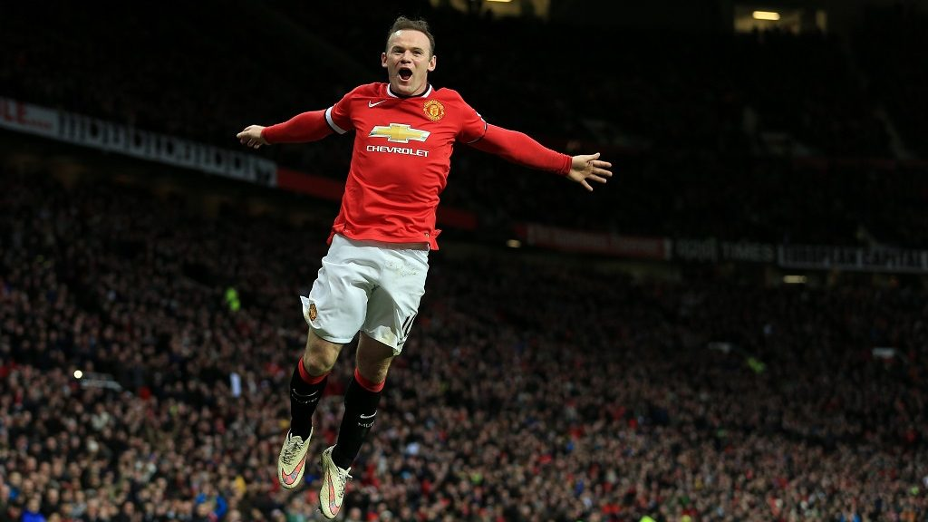 MANCHESTER, ENGLAND - FEBRUARY 28: Wayne Rooney of Man Utd celebrates after scoring their 2nd goal during the Barclays Premier League match between Manchester United and Sunderland at Old Trafford on February 28, 2015 in Manchester, England. (Photo by Simon Stacpoole/Mark Leech Sports Photography/Getty Images)