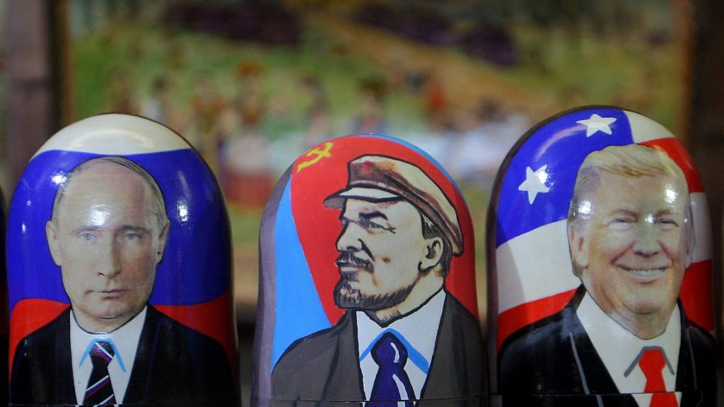 Traditional Russian wooden matryoshka doll with a picture of President-elect Donald Trump (right), Vladimir Lenin, a Soviet politician and statesman (center) and Russian President Vladimir Putin (left) at the fair on the Red Square in Moscow. Russia, Friday, January 6, 2017 Hacker attacks have not affected the results of the US presidential election. This was stated by the president-elect of the United States by Donald Trump on Friday, January 6, 2017 (Photo by Danil Shamkin/NurPhoto)