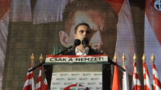 BUDAPEST, HUNGARY - OCTOBER 23: Chairman of the far-right radical nationalist Jobbik party Gabor Vona delivers a speech during a rally to mark the 57th anniversary of the Hungarian revolution and war of independence against communist rule and the Soviet Union in 1956 on October 23, 2013 in Budapest, Hungary. (Photo By Ahmet Bariscil/Anadolu Agency/Getty Images)