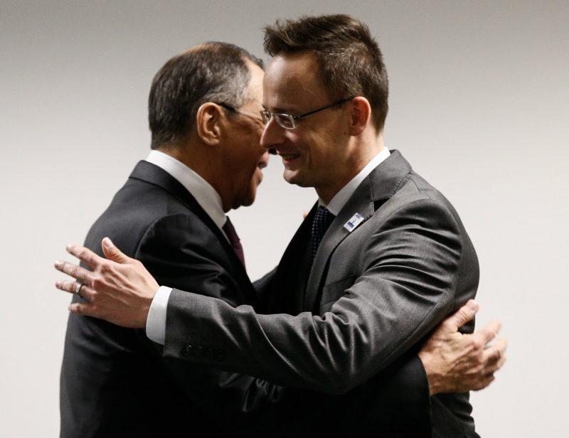 and Hungary's Foreign Minister Peter Szijjarto meet at the Hotel Atlantic Kempinski. Alexander (Photo by Alexander ShcherbakTASS via Getty Images)