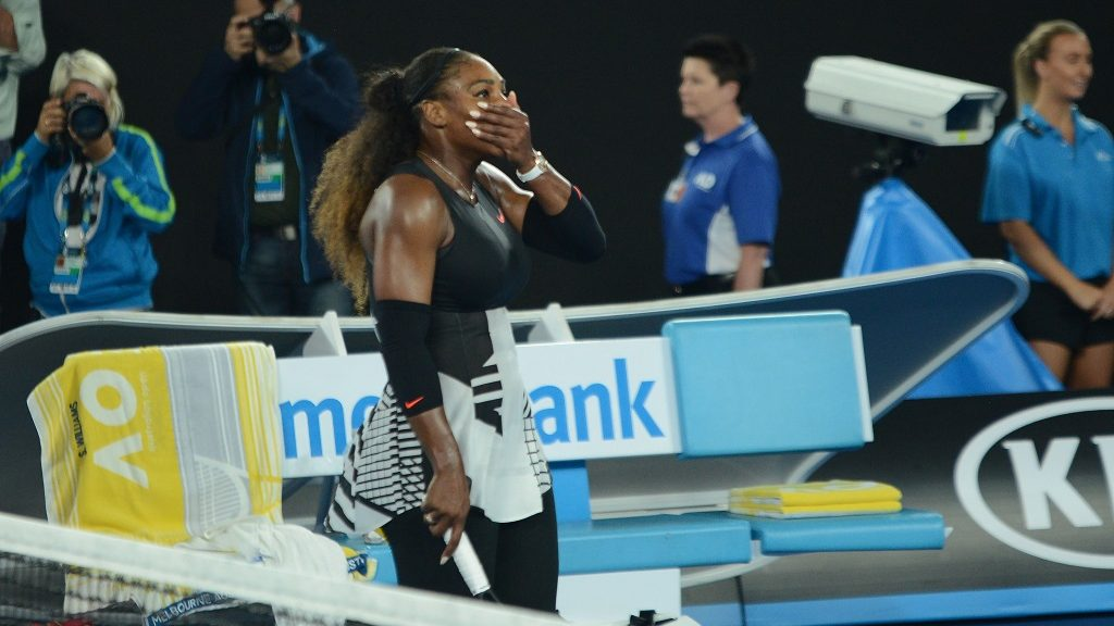 MELBOURNE, AUSTRALIA - JANUARY 28 : Serena Williams of United States gestures after winning the Australian Open women's singles final match against his sister Venus Williams at Rod Laver Arena in Melbourne, Australia on January 28, 2017. Recep Sakar / Anadolu Agency