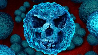 Superbug danger concept as a killer bacteria shaped as a death skull face as a symbol for MRSA medical healthcare risk and antimicrobial resistance health hazard icon as a bacterium infection inside the human body.