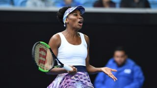 Venus Williams of the US reacts while playing against Duan Ying-Ying of China during their women's singles third round match on day five of the Australian Open tennis tournament in Melbourne on January 20, 2017. / AFP PHOTO / GREG WOOD / IMAGE RESTRICTED TO EDITORIAL USE - STRICTLY NO COMMERCIAL USE