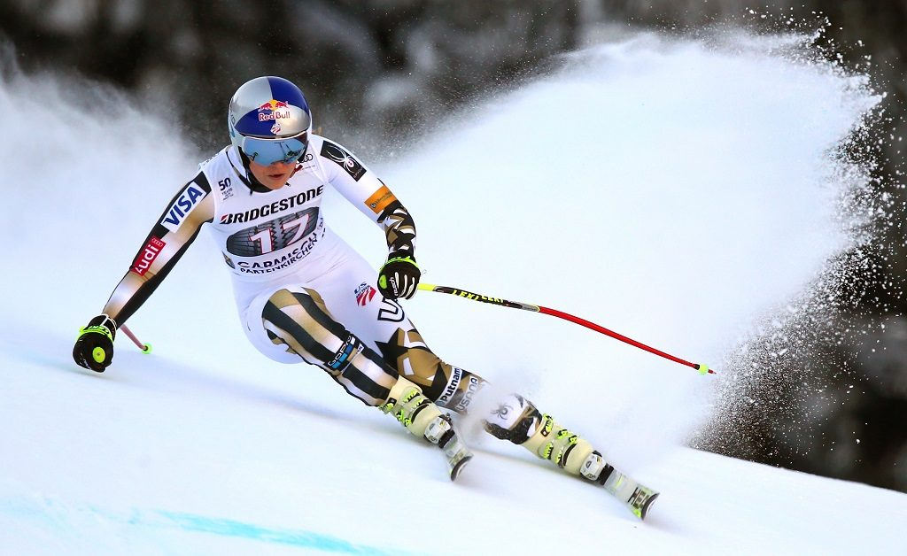 Lindsey Vonn of the USA during her run in women's downhill at the Alpine Skiing World Cup inGarmisch-Partenkirchen, Germany, 21 January 2017. Vonn came in first. Photo: Karl-Josef Hildenbrand/dpa