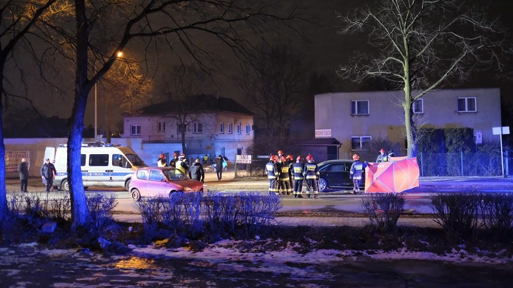 The scene of the accident with the participation of Polish Prime Minister Beata , is pictured on February 10, 2017 in Oswiecim, Poland.   After the accident, Szydlo is undergoing routine tests in one of the Malopolska region hospitals but nothing serious happened. / AFP PHOTO / PAP / Andrzej Grygiel