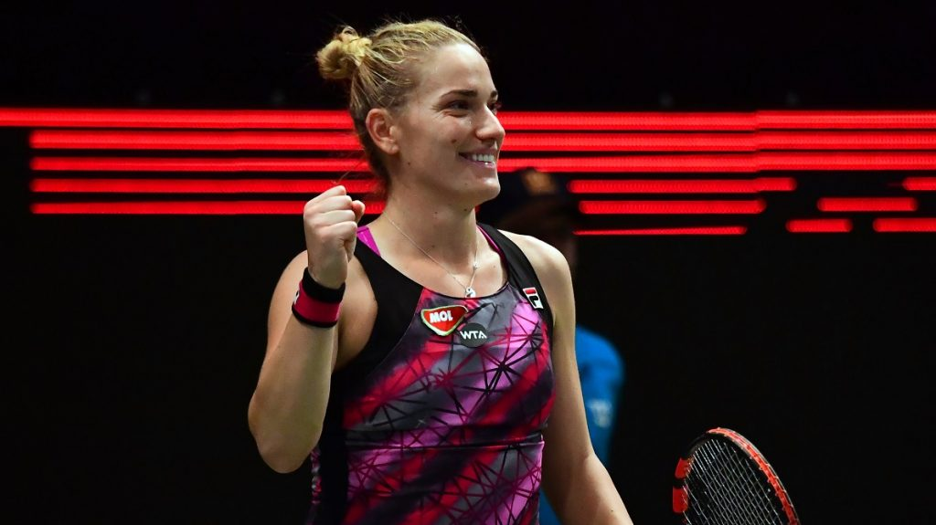 Timea Babos of Hungary celebrates her victory over Julia Goerges (not pictured) of Germany on day six of the WTA Hungarian Ladies Open tennis tournament in the BOK Hall in Budapest, on 26 February, 2017.   / AFP PHOTO / ATTILA KISBENEDEK