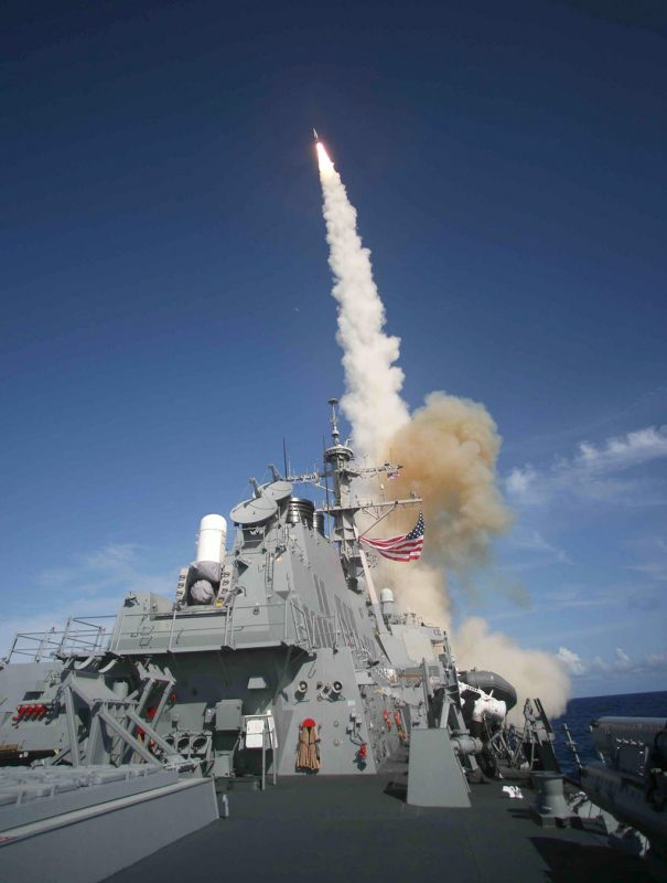 This US Navy jandout image shows a Standard Missile (SM-3) being launched from the Aegis combat system equipped Arleigh Burke class destroyer USS Decatur (DDG 73) operating in the Pacific Ocean 22 June, 2007 during a Missile Defense Agency ballistic missile flight test. Minutes later the SM-3 intercepted a separating ballistic missile threat target, launched from the Pacific Missile Range Facility, Barking Sands, Kauai, Hawaii. It was the first time such a test was conducted from a ballistic missile defense equipped-US Navy destroyer.  The previous flight tests were conducted from US Navy cruisers. The maritime capability is designed to intercept short to intermediate-range ballistic missile threats in the midcourse phase of flight.  USS Decatur is one of 18 U.S. Navy ships (three cruisers and 15 destroyers) that will be identically equipped, by early 2009, with the ballistic missile defense capabilities of conducting long-range surveillance/tracking and launching the SM-3 missile. AFP PHOTO/HO/US NAVY (Released) / AFP PHOTO / US NAVY / HO