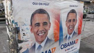FRANCE, Paris: Posters falsely portraying former President of the United States Barack Obama (along with his iconic slogan Yes We Can) running for the French presidency are on display in Paris on February 23, 2017. The site www.obama17.fr has launched a petition for Obama to run for President of France. Its organizers say they wish to elect a foreign president and that they are tired of voting against candidates. - Citizen Staff