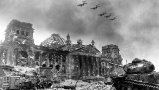 A picture by Soviet photographer Yevgeny Khaldei  shows the destroyed Reichstag in Berlin in April 1945.  Photo: Yevgeny Khaldei