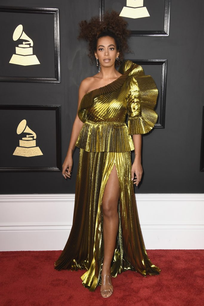 LOS ANGELES, CA - FEBRUARY 12: Singer Solange Knowles attends The 59th GRAMMY Awards at STAPLES Center on February 12, 2017 in Los Angeles, California.   Frazer Harrison/Getty Images/AFP