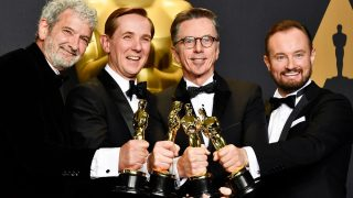 HOLLYWOOD, CA - FEBRUARY 26: (L-R) Sound mixers Peter Grace, Robert Mackenzie, Kevin O'Connell and Andy Wright, winners of the Best Sound Mixing award for 'Hacksaw Ridge' pose in the press room during the 89th Annual Academy Awards at Hollywood & Highland Center on February 26, 2017 in Hollywood, California.   Frazer Harrison/Getty Images/AFP