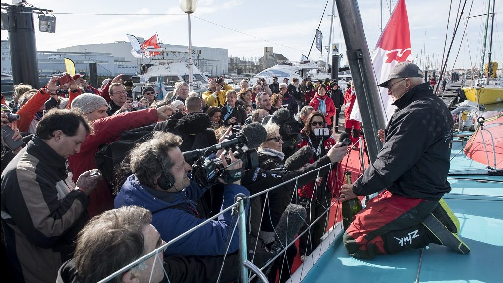 Media at pontoon during finish arrival of Nandor Fa (HUN), skipper Spirit of Hungary, 8th of the sailing circumnavigation solo race Vendee Globe, in Les Sables d'Olonne, France, on February 8th, 2017 - Photo Olivier Blanchet / DPPI